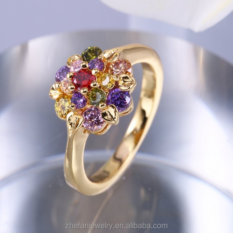 Ladies style engagement gold ringcostume jewelry with AAA zircon