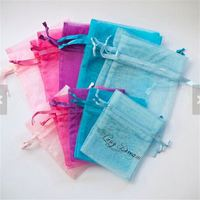 Random Mixed Colors Jewelry Packing Drawable Cheap Organza Bags Wedding Gift Bags Pouches