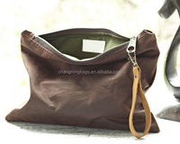 Extra Size Wax Canvas Leather Wristlet Zipper Bag, Travel Toiletry Bag