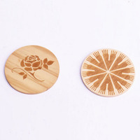 Customized laser engrave wooden chips / Wooden circle , round craft chips