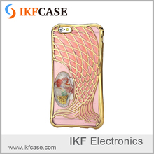 Electroplating frame soft tpu 3D mermaid design mobile phone cases for iphone 6