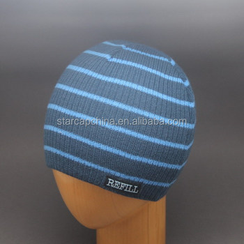 WHOLESALE DESIGN LOGO KNITTING STRIPPED BEANIE HAT WITH WOVEN LABEL