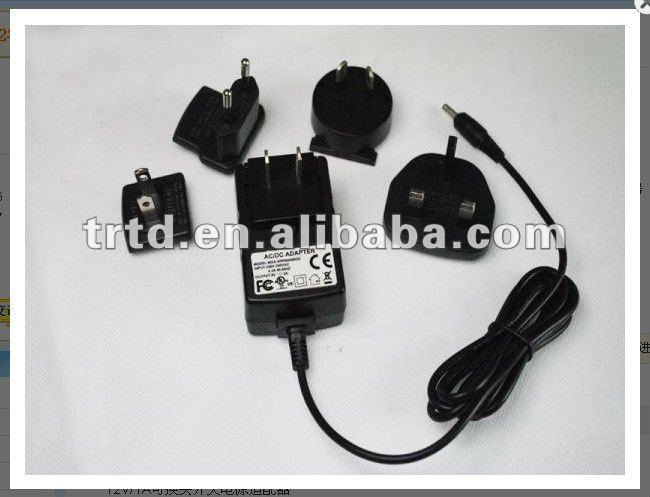 12w interchangeable plug power adapter