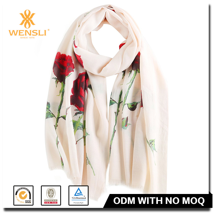 Chinese Wensli Latest Designs Printed Wool OEM Neckwear Scarves And Shawls