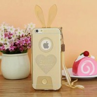 Cute Rabbit Silicone Case Bunny Ears Rubber Glossy Crystal Rabbit Soft TPU Cover Skin for iPhone 6 Plus 5.5