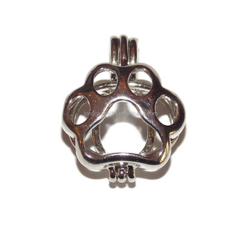 hollow Paw Print Pearl bead Cage pendant for Pick a Pearl