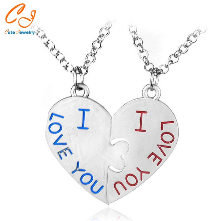 Trendy Pairs Jewelry Blue And Red Letter I LOVE YOU Romantic Heart Pendant Link Chain Necklace For Lovers And Best Friends