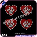 Bling Pawprint with Heart motif Rhinestone transfer design for Apparel