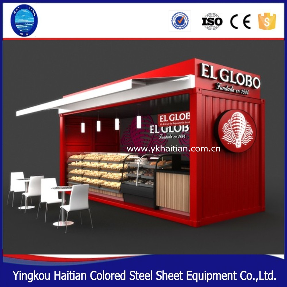 low cost flat pack prefab casas contenedor 20' restaurant furniture outdoor food kiosk design