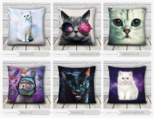 high quality low MOQ 3d print cats and dog fullprint decorative cushion cover