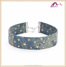Wholesale Stylish Width Blue Denim Choker for Women Vintage Punk Distressed Jeans Chokers Necklace