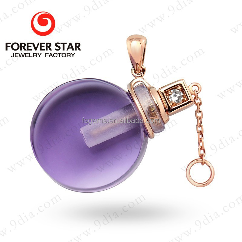 2015 New Arrival Amethyst Perfume Bottle 10K 14K Yellow Gold Jewelry Manufacturers