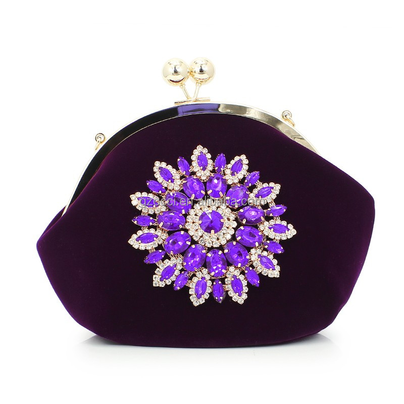 Occi wholesale clutch china fashion flannel rhinestone mini ladies coin purse handbag SC2370