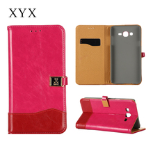 Whole sale fashionable leather flip phone cover for samsung galaxy s3 s4 s5 s6 s6 edge note 2 3 4 j4 j5 j7