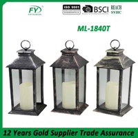 Hot selling plastic and glass led candle lantern,flameless candle holder ML-1840T