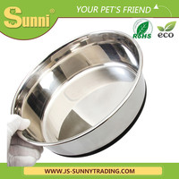 Anti-skid rubber band stainless steel large dog feeder