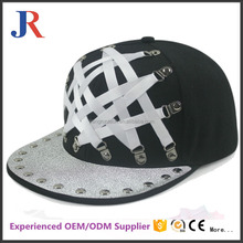 mandy hot sale custom fashion leather strap metal band no brand snapback cap