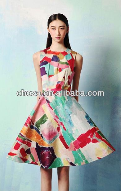 THE FASHION WOMEN'S SUMMER PAINT PRINTING DRESS