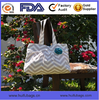White and Chevron printed handbags with compartments Oem New Arrival handbags with compartments