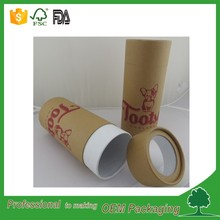 Food packaging custom kraft paper tube round cardboard box packaging for pet dog food with clear PVC