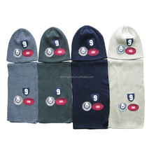 Child acrylic rib knitting funny hat and scarf with embroidery patch set