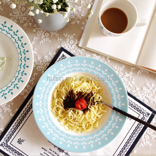 unique customized design porcelain ceramic microwave pasta dish salad plate
