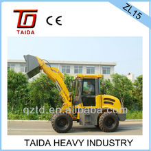 taida brand zl-15 wheel loader with 1500kg rated load and original cummins engine