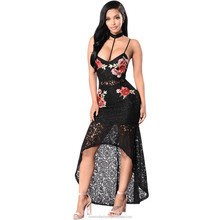 monroo Club Lace Dresses Floral Bodycon Deep V Neck Black Embroidered Rose Backless Spaghetti Strap Dress Vestidos De Fiesta