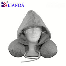 Standard size U shape memory foam hoodie travel pillow, lower neck pressure travel neck hooded pillow