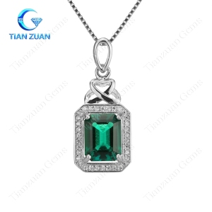 925 sliver with Hydrothermal lab created emerald gemstone of pendant for oval shape sapphire gemstone with 925 sliver of jewelry