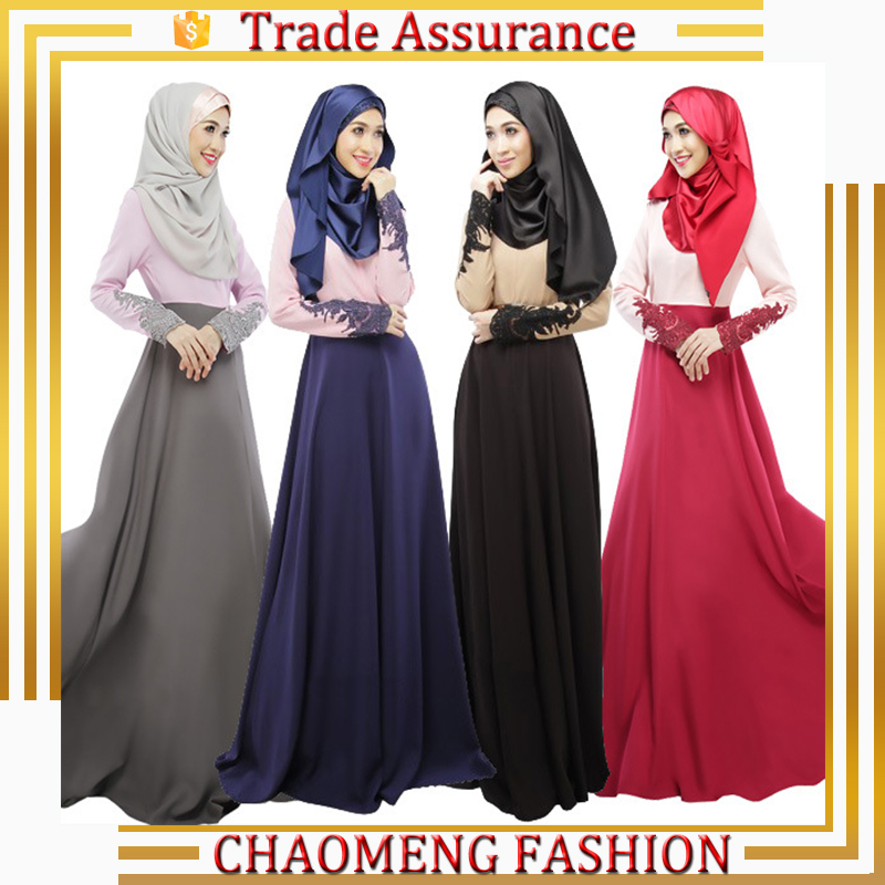 Lace Applique Detailed Long Sleeve Dress Malaysia Abayas In Dubai Turkish Islamic Muslim Clothing For Women