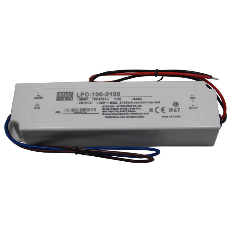 High Quality Low Cost LPC-100-2100 24~48V 2100mA Constant Current LED Driver Meanwell 100W