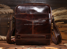 bright brown color One shoulder Leisure style leather bags for men