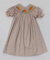 Brown Gingham Smocked Pumpkin Bishop Dress