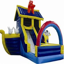 Inflatable Monster Fire Truck Bounce House Slide