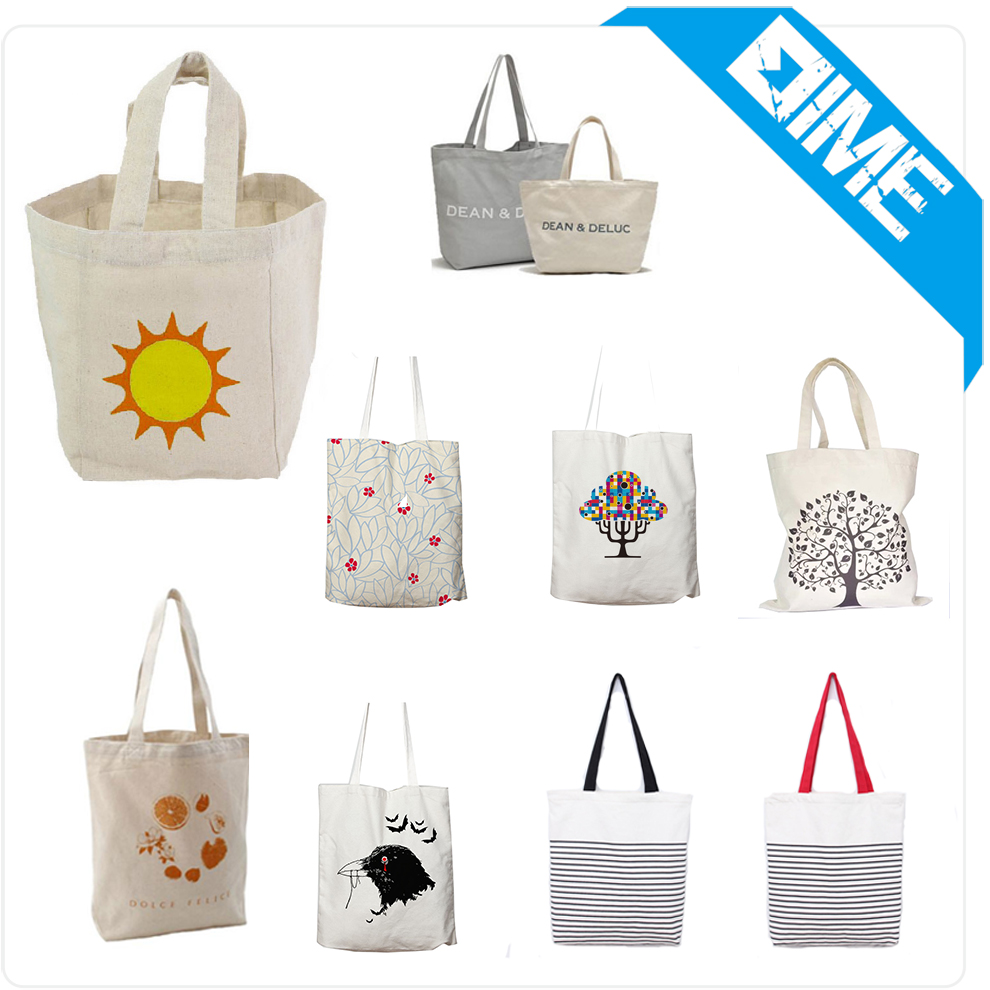 Wholesale Promotional Gifts Customized Logo Totes Bag White Eco Bags Solid Color