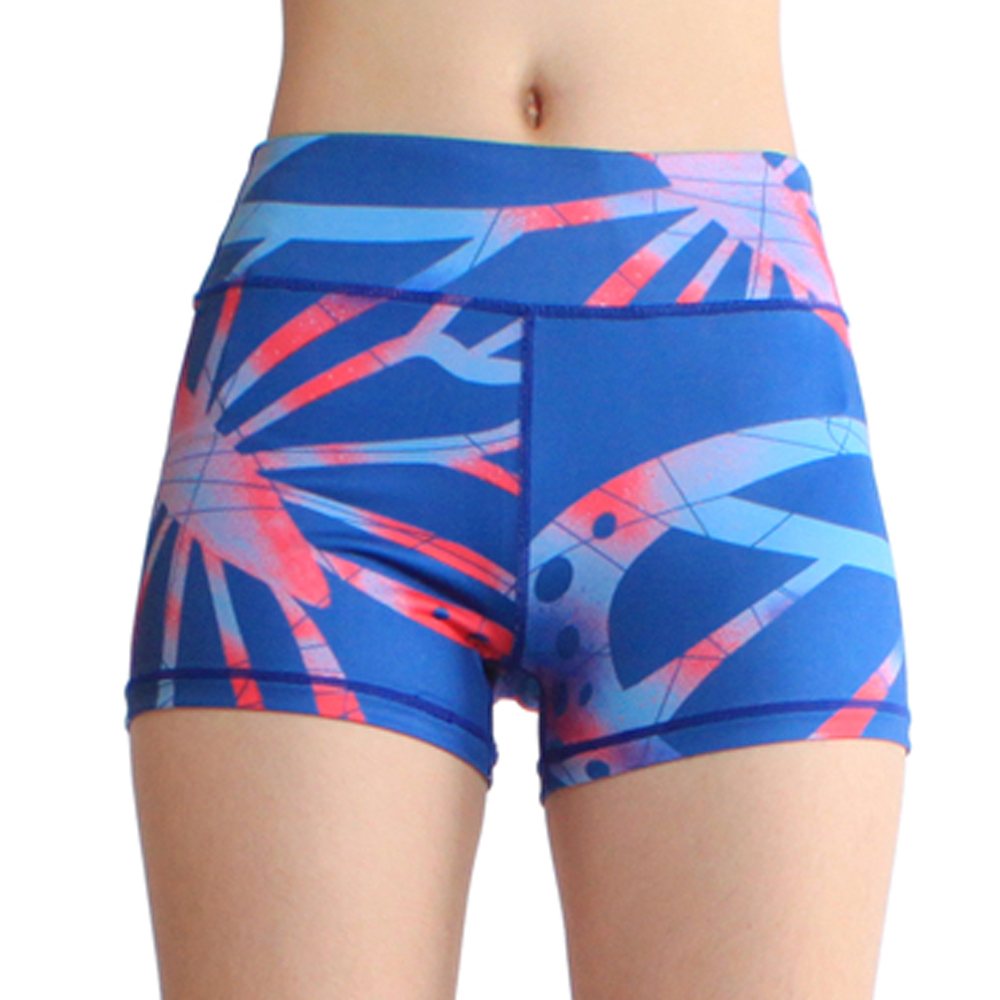 Womens Sportwear Activewear Fitness Yoga Quicky Dry Royal Blue Print Baselayers Shorts Tights Hot Pants Boardshort