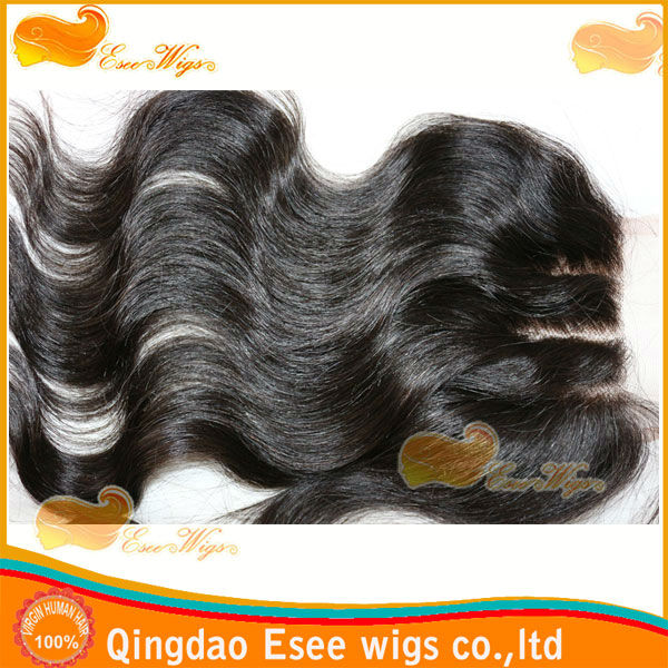 HOT! eseewigs 100human hair 3 part closure Density 150%, natural color virgin peruvian hair body wave closure 4X4inch, 10-20inch