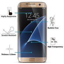 Wholesale 9H Hardness tempered glass screen guards protective films for Samsung s7 edge