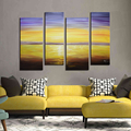 Modern Handmade Oil Sunset Seascape Painting on Canvas