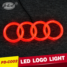 4D red led car logo car led emblem car front led logo for AUDI