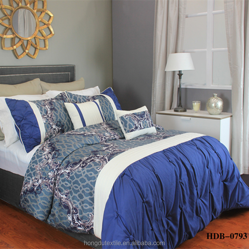 100% Polyester Luxurious Nobility Blue Queen Bedding Export Quilt Duvet Cover Set