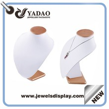 White leather cover wooden necklace display bust stand for showcase