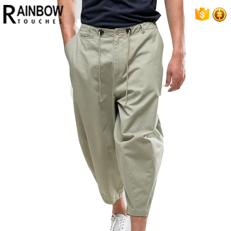 Fashion Oversized Cropped Pants With Pleats Men Bell Bottom Pants Mens Sweat Pants