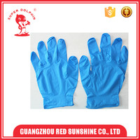 Blue colored disposable nitrile gloves for medical