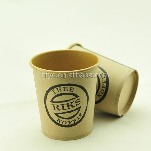 Custom logo Printed Disposable Single Wall Coffee Paper Cup with Lids