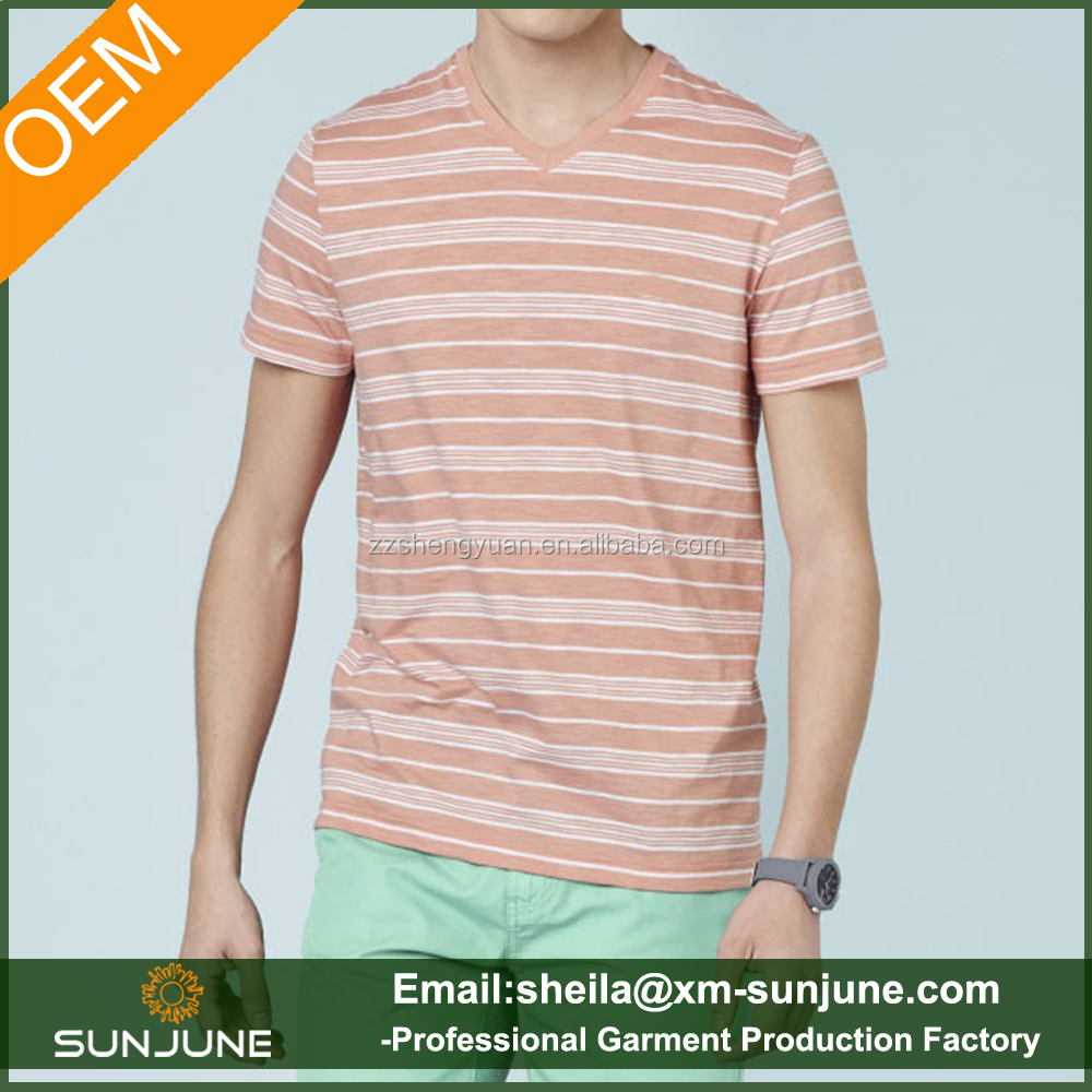 Men's cotton breathable striped v-neck high-end outdoor leisure golf clothing