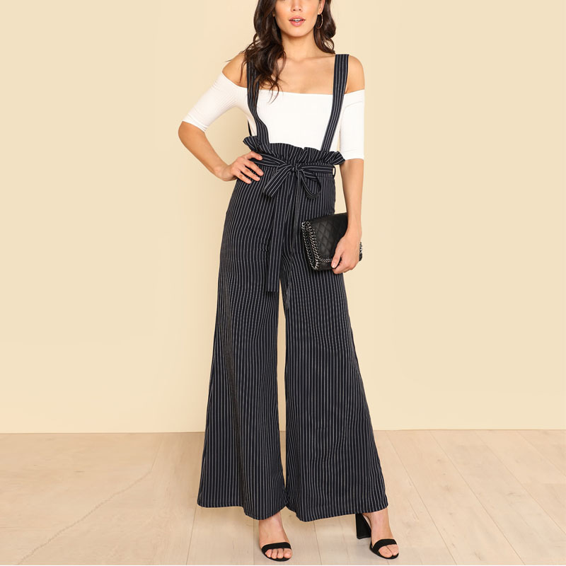 Elegant stripe wide leg lady suspender trousers