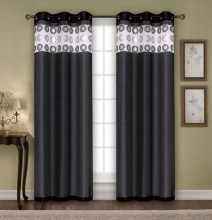 100% Polyester Linen Look Yarn-Dyed Panel Window Curtain With 8 Rings