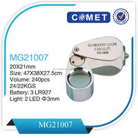 MG21007 folding LED Illuminated jewelry loupe,led headlamp magnifier